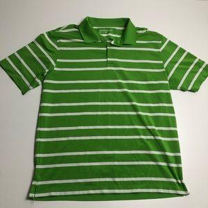Nike Dri Fit Green Striped Golf Shirt Mens Large